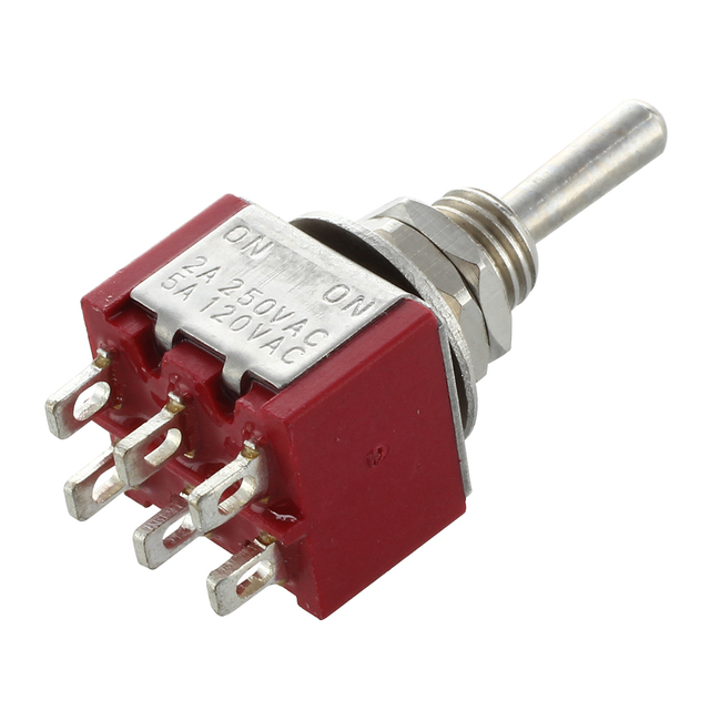 Mini Toggle Switch DPDT ON-ON Two Position Red 2A 250V 5A 120V