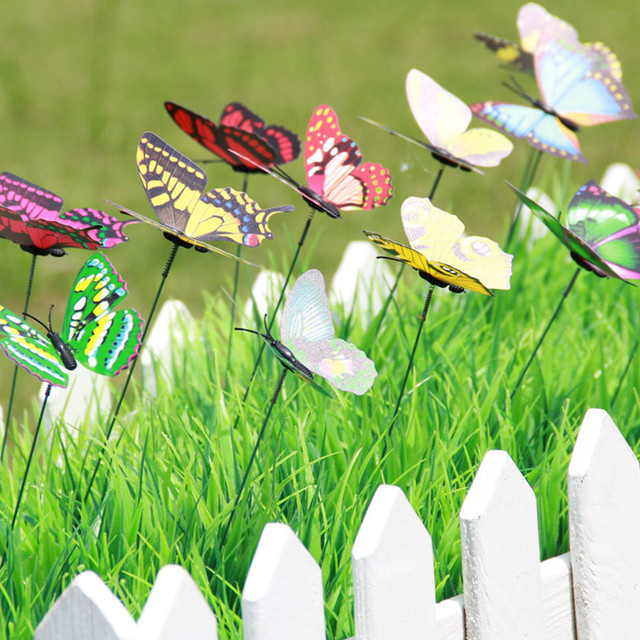 Garden Ornament Lawn Decoration Creative on Sticks 10 Pcs/Pack Lawn Craft 3D Artificial Outdoor