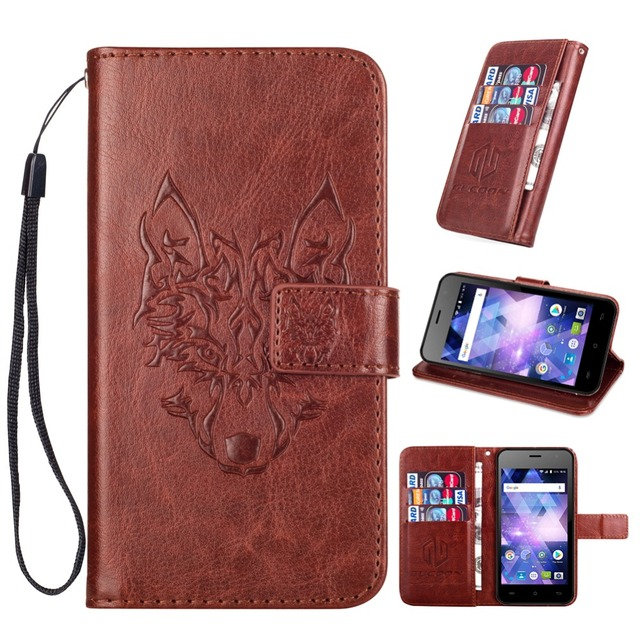 GUCOON Embossed Skull Wolf Case for BQ BQ-4585 Fox View 4.5inch Vintage Protective Phone Shell Fashion Cool Cover Bag
