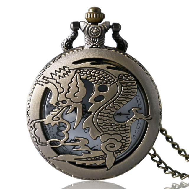 Retro Hollow Bronze Chinese Dragon Theme Quartz Fob Pocket Watch with Necklace Chain for Men Women Birthday Christmas