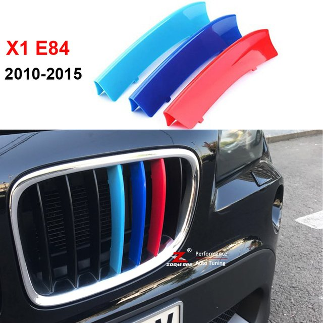 3D M Front Grille Insert Trim Motorsport Grill Stripes Cover M Performance Sticker for BMW X1 F48 2016-2018 7 Grille