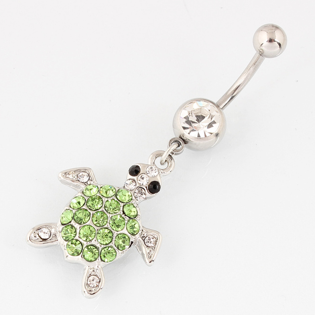Tortoise belly button ring navel ring fashion body piercing jewelry belly bar 14G 316L surgical steel bar Nickel-free