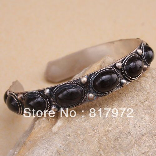 Old tibet silver inlay oval more black bead cuff bracelet guarantee Adjustable Party Gift