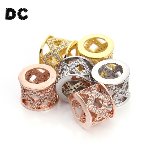 DC 2pc/lot 10x8mm Gold/Rose Gold/Rhodium Color Mirco Pave CZ Tube Spacer Beads with Big Hole 6mm Bead Connectors Jewelry Making
