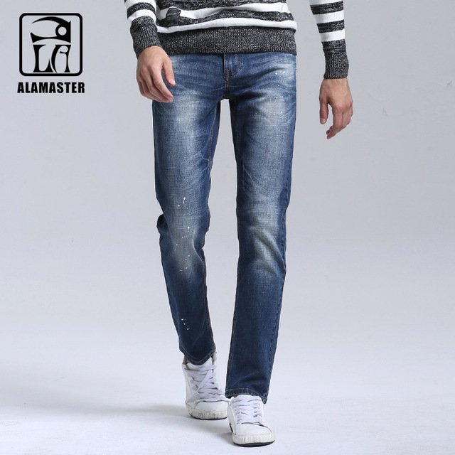 A LA MASTER New Brand Men Designer Stretch Casual Straight Leg Denim Jeans Male Regular Fit Cotton Ink Trousers Pants