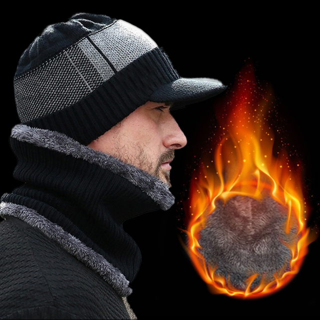 2Pcs/Set Men Warm Winter Wool Scarf Caps Beanie Knitted Hat And Scarf Set Scarves Cap With Brim Knitted Visor Beanies Balaclava