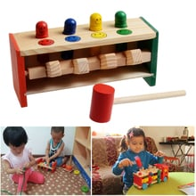 Baby Wooden Hammer Toys+Stick Hammering Box Toddlers Educational Puzzle Toys for Children Wooden Game Hammering Bench Kids Toys