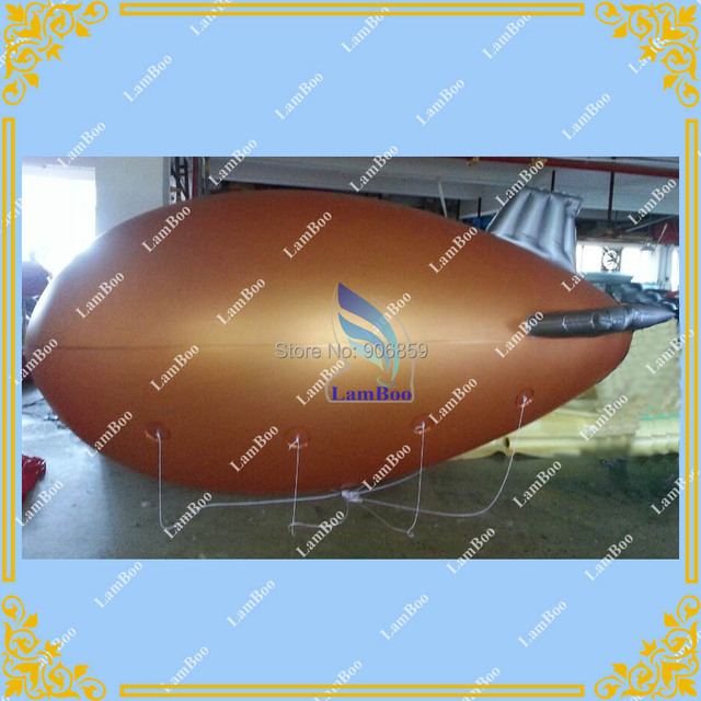 Nice Design 13ft/4m Long Golden Inflatable Airship Blimp Zeppelin with Purple wings for Advertisement/DHL shipping