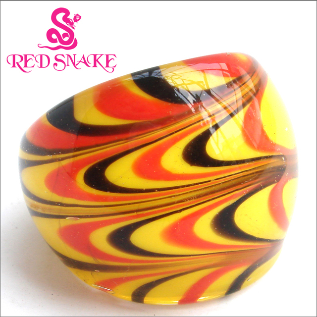 RED SNAKE Fashion Handmade Ring with Red / Yellow Ripples Murano Glass Rings