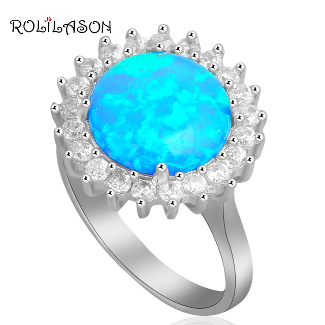 silver plated rings for women Round Blue Fire Opal Wholesale & Retail Fashion Jewelry Rings USA #6#7#8#9 OR709