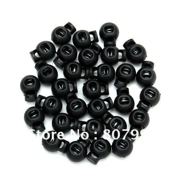 100pcs/lot, NEW Black Plastic Ball Cord Lock Toggles Round Cordlock