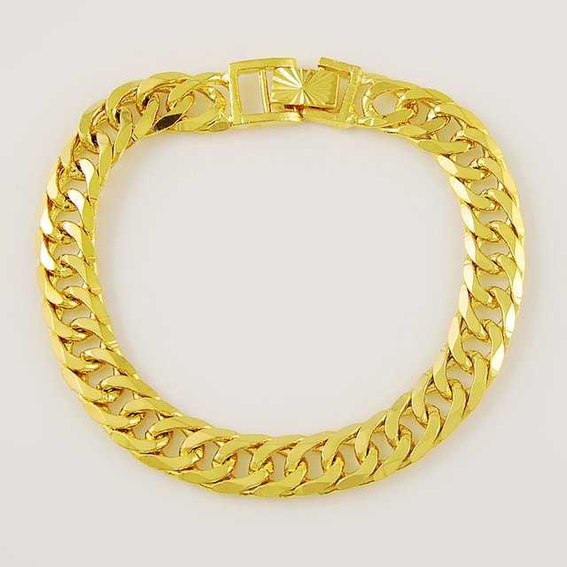 Women's Men's  Bracelet 24K Gold Plating Cuban Link Chain Bracelets Gold Plating Color Fashion Wholesale Jewelry for Men
