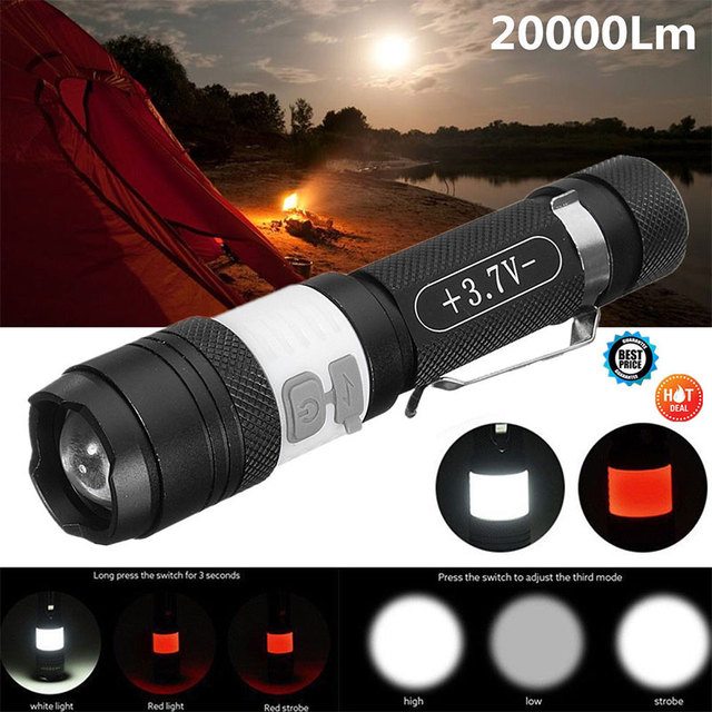 Portable Torch USB Rechargeable XML T6 Black 20000LM 6Modes Warning Lamp Climbing Outdoor Sporting Emergent Lamp Hiking Cycling