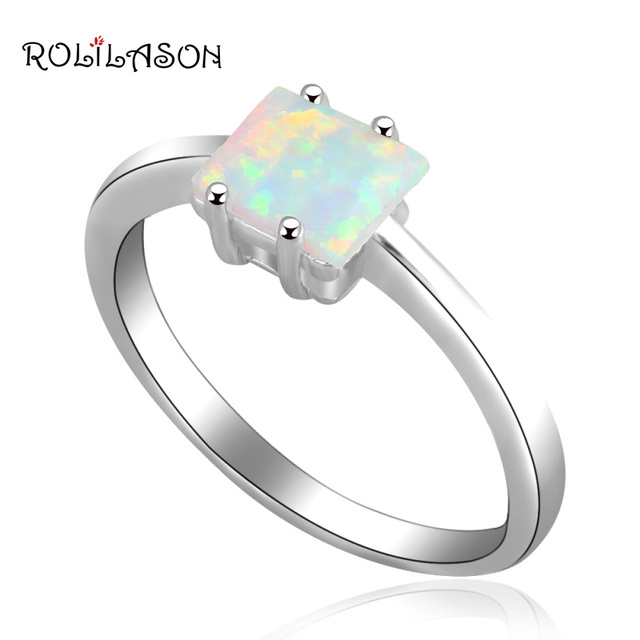 Royal Designer Wholesale & Retail Fire Opal silver plate Stamped Prom party  jewelry Rings USA size #6.5 #7.5 OR467