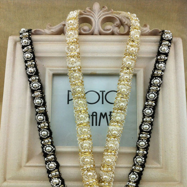 High quality White/Black dress beaded Lace trim for collar DIY sewing/garment/clothes accessories -MZ