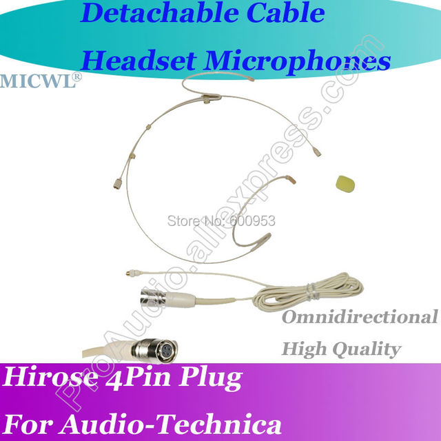 MICWL T40 Detachable Cable Headset Microphone for Audio-Technica Wireless Hirose 4Pin connector