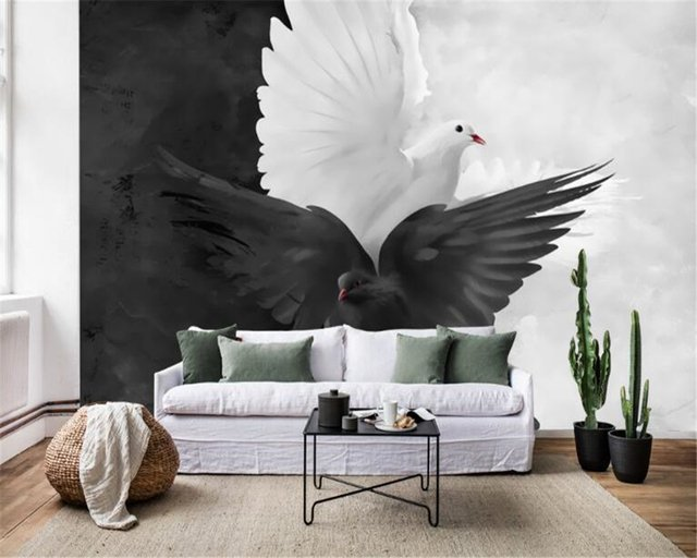 beibehang behang Interior personality fashion simple hand-painted black and white pigeon art mural wallpaper background wall