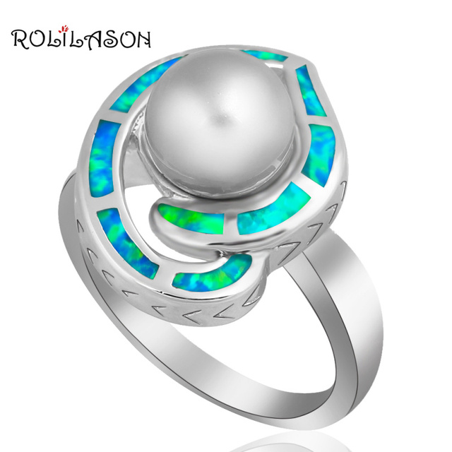 Amazing Gift ! Pearl jewelry Wholesale & Retail ! Grey Pearl Blue Fire Opal silver plated Ring sz #7 #8 Fashion jewelry OR508