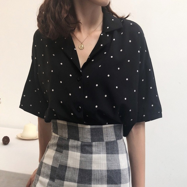 Elegant Women Chiffon Blouse Sexy V-neck Women Shirts Casual Half Sleeve Fashion Polka Dot Shirt Tops Office Feminine Blouse