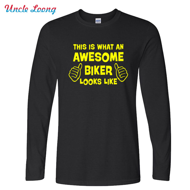 New Autumn Style This is what an awesome Biker looks like Funny T Shirt Men Casua O-neck Fashion Long Sleeve size XS-XXL