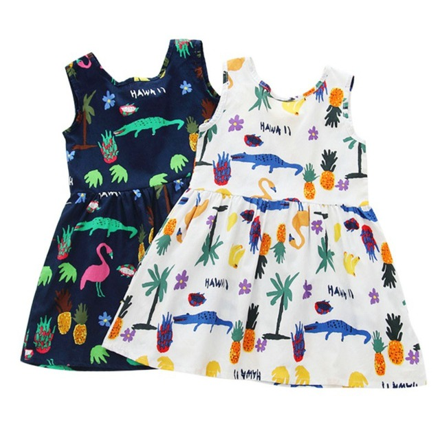 Flower Girl Dresses Summer Cute Girls Dress Kids Sleeveless Cartoon Print Pattern Dress Vestidos Children Clothes