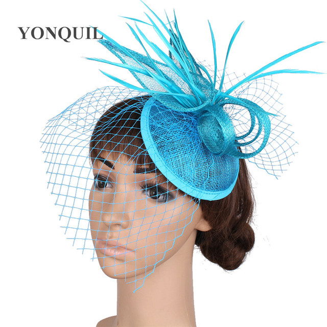 sinamay base fascinator headwear wedding bridal hair accessories red millinery cocktail hat High quality multiple color MYQ16001