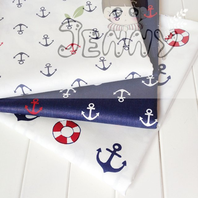 3 pcs of Cotton Fabrics Sewing Handmade DIY Hometextile Cloth For Dress Tent Anchor Series Big Ocean Style Patchwork 40 * 50 cm