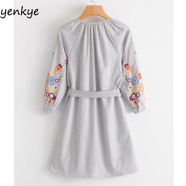 2018 Spring Autumn Women Gray Striped Dresses V Neck With Belt Floral Embroidery Long Sleeve Dress Casual Vestidos Mujer SYJZ128