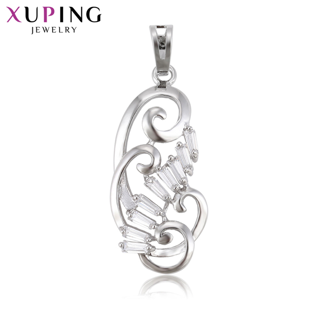 Xuping Fashion Elegant NecklacePendant Rhodium Color Plated for Women Valentine's Day Jewelry Gift S81,3-33288