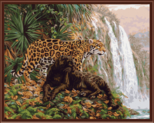 leopard Landscape Frameless Picture Painting By Numbers Wall Art DIY Canvas Oil Painting Home Decor Living Room GX6514 40*50cm