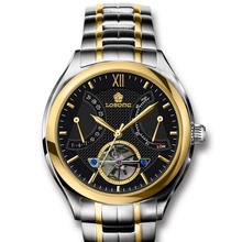 high end luxury brand full stainless steel balck gold big dial seagull movement 50m waterproof automatic self wind watch for men