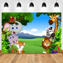Custom Newborn Baby Shower For Birthday Party Photo Backgrounds Cartoons Photo Booth backdrop Jungle Theme Photography Backdrop
