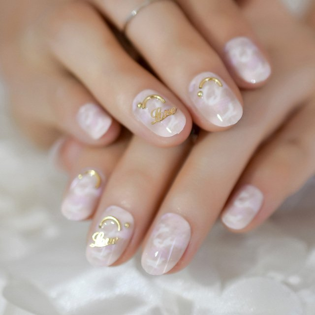 Marble Short Shiny Lovely Artificial Nails Pink 3D Smile Press On Manicure Round Daily Full Cover for Date 24pieces