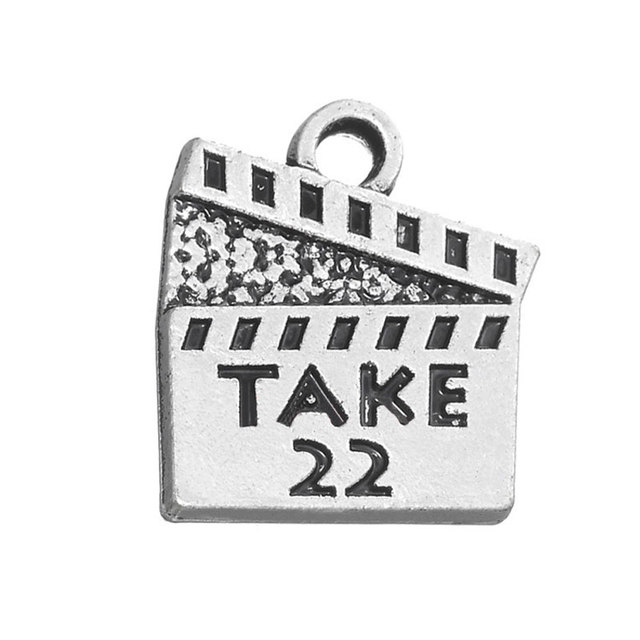 RAINXTAR Fashion Alloy Vintage Movie Action Board Shape Charms With TAKE 22 Stamped Pendant Charms 16*18mm 50pcs AAC1428
