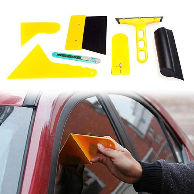 7pcs/set Auto Vehicle Window Paste Foil Tool Installation Tools Kit Foil Wrap Vehicle Wrap Scraper Film Car Accessories