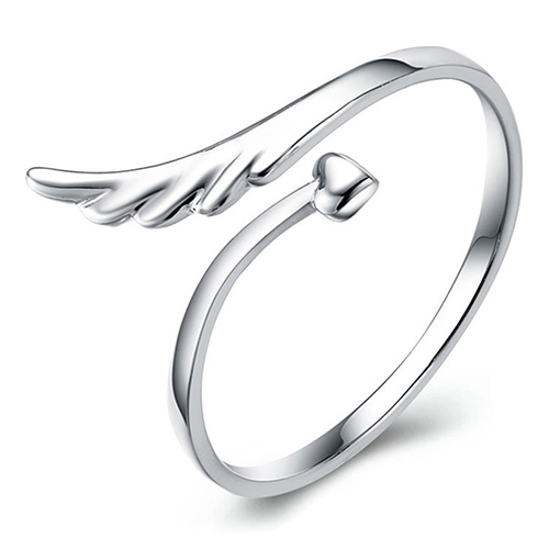 Women's Angel Wings Love Heart Silver Plated Gift Jewelry Opening Finger Ring  5LN7