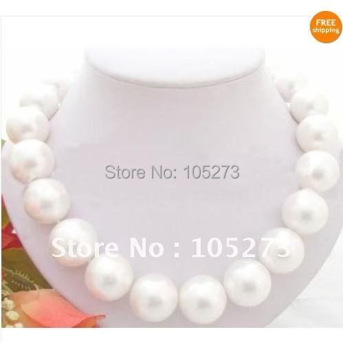 Stunning! Huge 18''inchs AA 18MM White South Sea Shell Pearl Necklace fashion jewelry woman's neklace Free shipping FN32