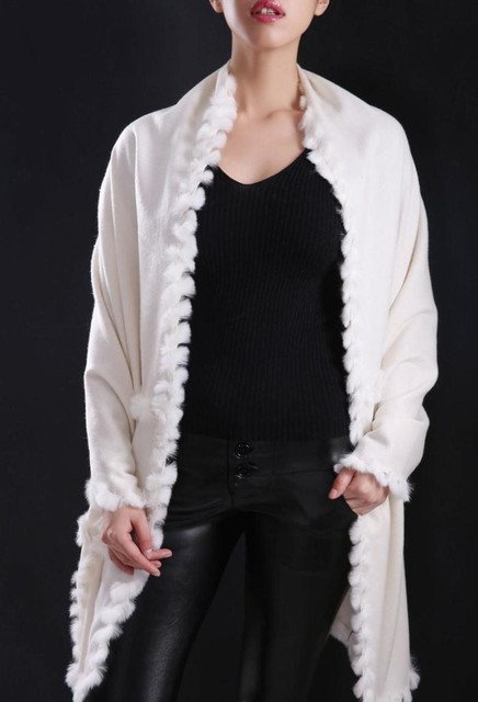 white scarf with fur Luxury Pure 100% Cashmere with natural rex rabbit fur trim, female lady warm spring autumn S1509