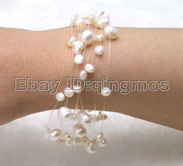 "SALE Natural 4-6mm Baroque White Freshwater Pearl Starriness 7.5"" bracelet -bra149 Wholesale/retail"
