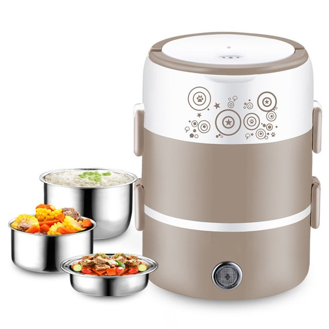 Electric Lunch Box Three-layer Insulated Lunch Box Stainless Steel Heating Lunch Box Mini Rice Cooker Steamed Egg Rice Steamer