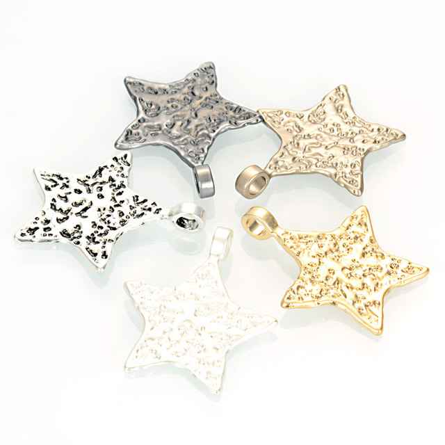 Miasol 2pcs Antique Design Matte Silver/Golden Plated Hammered Stars Charms Necklace Pendants For Diy Jewelry Making Findings