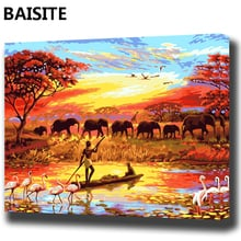 BAISITE DIY Framed Oil Painting By Numbers Landscape Pictures Canvas Painting For Living Room Wall Art Home Decor E871