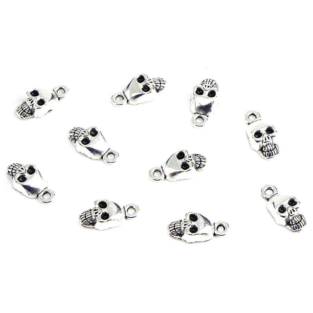 10PCS/pack Fashion antique silver Alloy Skull charms Halloween Charms Pendant Jewelry Findings for DIY Craft Making