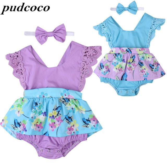 Emmababy Summer Ruffle Sleeve Dress Jumpsuit Headband Baby Girls Clothing Sets Newborn Baby Toddler Clothes Infant Jumpsuits