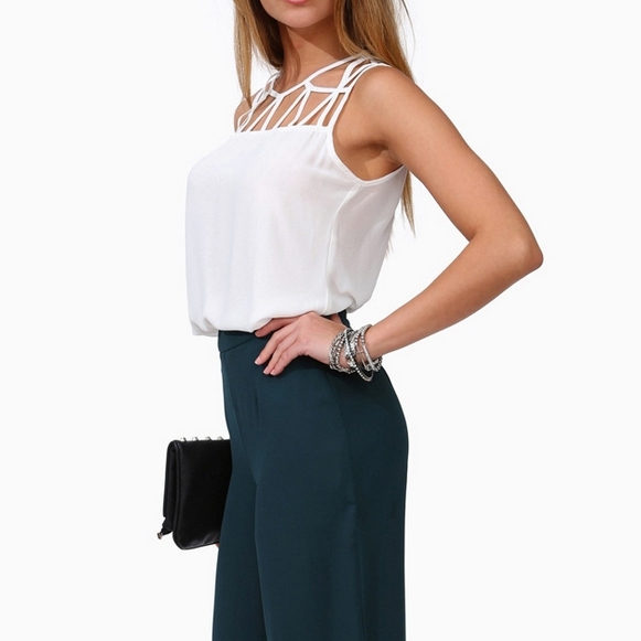 Witsources Sexy Hollow out Chiffon Camisole Women Fashion Backless Top Camisoles Black White ST2125