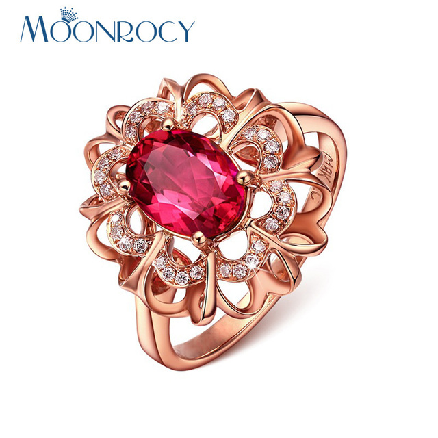 MOONROCY Free Shipping Cubic Zirconia Jewelry Wholesale Rose Gold Color CZ Red Crystal Rings Wedding Ring for Women Gift