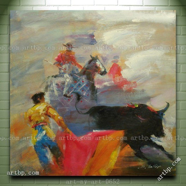 Contemporary Abstract Oil Painting Of Mexican Bullfighting On Canvas Dining Room Paintings Wall Decor Landscape Canvas