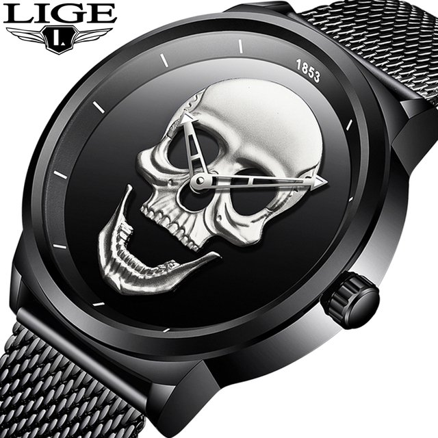 2018 New LIGE Men Watch Top Brand Casual Fashion Skull Quartz Clock Stainless Steel Mesh Belt Waterproof Watch Relogio Masculino