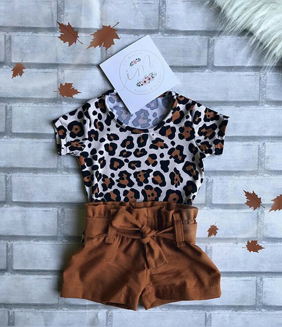 2Pieces Summer New Causal Stylish Toddler Kids Baby Girls Infant Sunsuits Leopard Print T-shirt Tops+Shorts Summer Causal Outfit