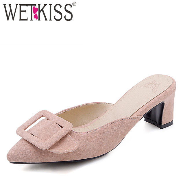 WETKISS High Heels Slippers Woman Pointed Toe Footwear Fashion Buckle Slides Shoes Female Mules Shoes Women Summer Plus Size 48